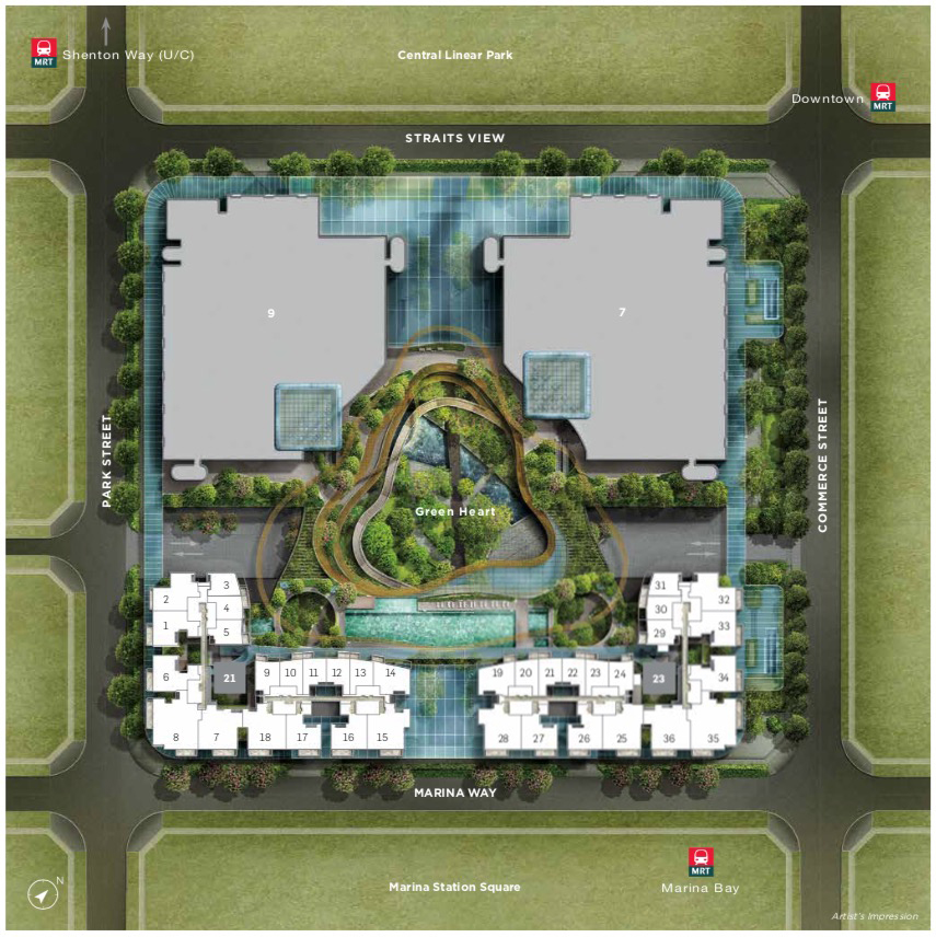 Marina One Residences Siteplan Park Garden Tower